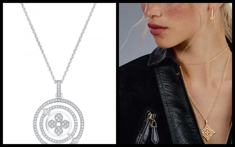 編輯推薦相思(左)Louis Vuitton Pendentif Idylle Blossom Diamant 項鍊/388,000元。(圖/品牌提供)