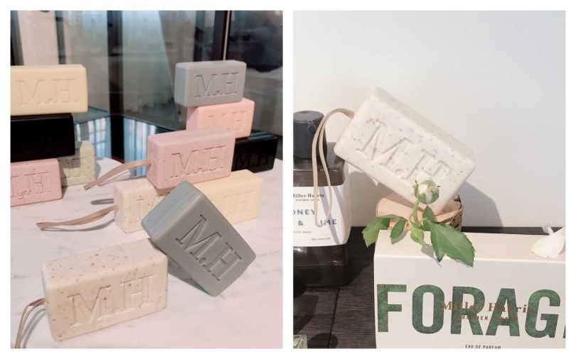 Miller Harris經典香氛皂(四種味道)200g/880元、大理石香氛皂(帶提把)三種味道200g/980元(圖片/黃筱婷攝影)