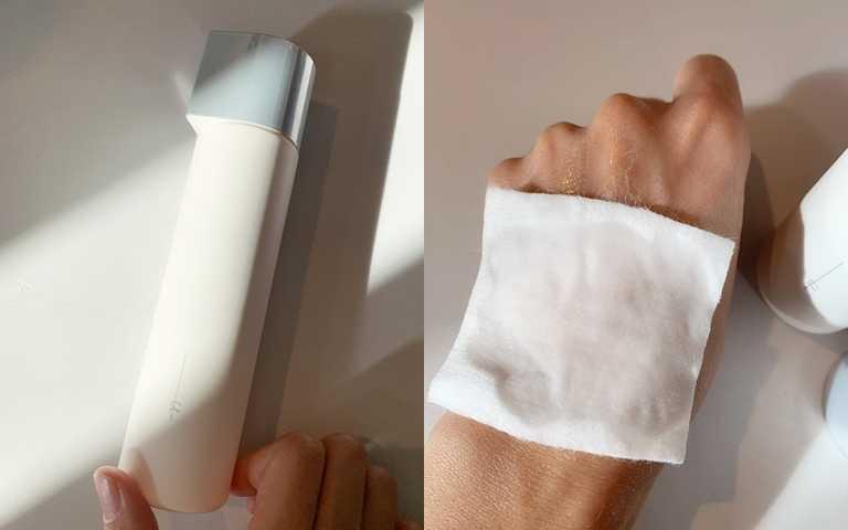 「極光悠逆時化妝水」除了可以直接擦塗全臉,更推薦搭配化妝棉濕敷,保證潤澤度大加分!(圖/吳雅鈴攝影)