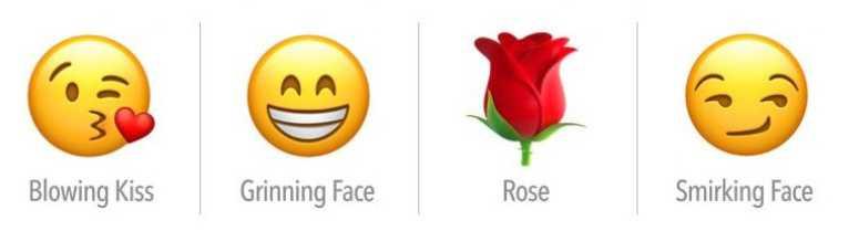 飛吻、露齒笑、玫瑰、奸笑。