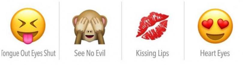 吐舌、摀眼的猴子、唇印、眼冒愛心。