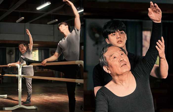 高齡76歲的「國民爺爺」朴仁煥,在劇中接受宋江指導,他笑說芭蕾舞衣太貼身,剛開始穿的時候很難爲情。(圖/Netflix提供)