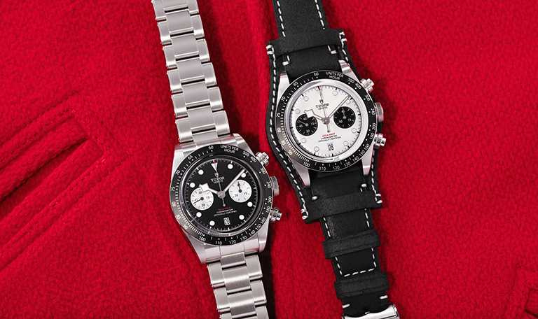 TUDOR「Black Bay Chrono碧灣計時」型腕錶,(左)啞黑色面盤、鉚釘鋼鍊款╱165,000元;(右)蛋白色面盤、黑色皮帶款╱155,000元。(圖╱TUDOR提供)