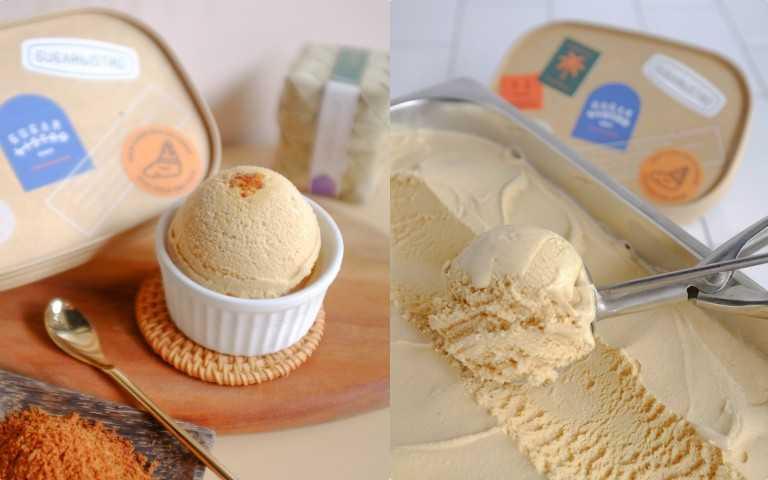 SUGARbISTRO 38%重乳棕櫚糖生淇淋 450g /盒,每組商品含棕櫚糖鬆餅粉 100gx2包,法國無鹽奶油 40gx2 塊 l /330元(圖/品牌提供)