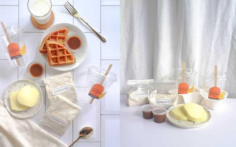 SUGARbISTRO 同步推出店內高人氣棕櫚糖鬆餅的鬆餅粉,嚴選日本小麥芯粉與裸麥粉及棕櫚糖完美比例獨家調配,自製鬆餅健康又美味。圖6:SUGARbISTRO 棕櫚糖鬆餅粉 100g/包・2 包/組 ,1 杯 2-3 人份/ 220元 (圖/品牌提供)(圖/品牌提供)