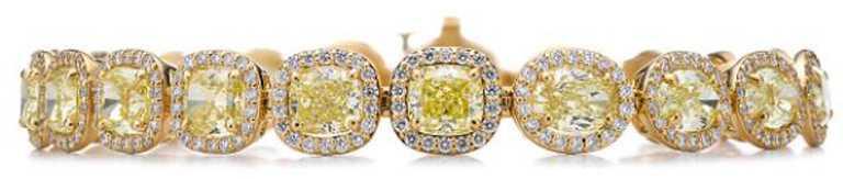 TIFFANY & CO.高級珠寶系列,18K金鑲嵌黃鑽與白鑽手鍊╱8,170,000元。(圖╱TIFFANY & CO.提供)