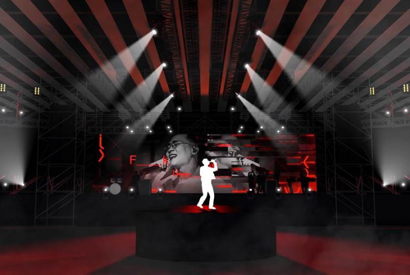 團隊特別設計延伸舞台,讓蕭秉治能和歌迷零距離接觸。(圖/相信音樂提供)