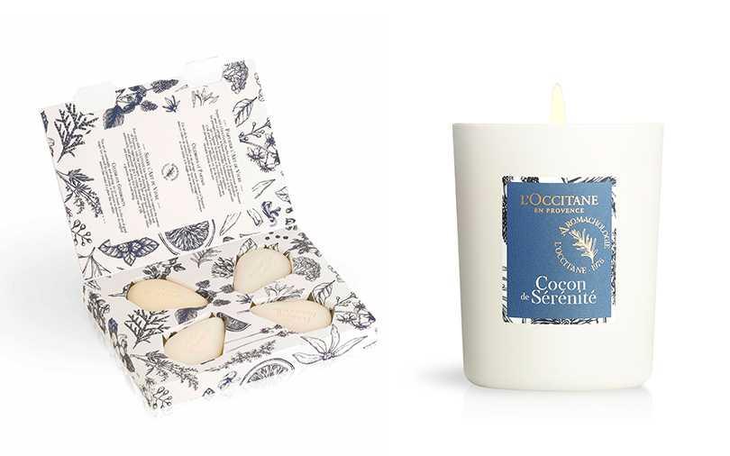 L'OCCITANE居家香氛皂禮盒組(4入)/NT.950,紓壓香氛蠟燭140g/NT1,200(圖/L'OCCITANE提供)
