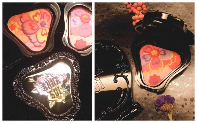 五顏六色紫夜花朵,打造紫夜專屬華麗氣色,從鮮豔的粉紅色到甜美的珊瑚色,並混合淡雅粉紅色和神祕淡紫色。ANNA SUI 紫夜之花限量頰彩/1130元(圖/黃筱婷攝影)