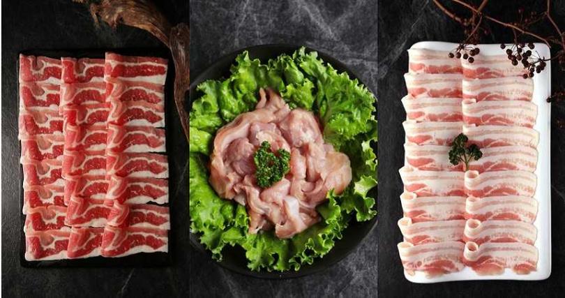 指定肉品:美國牛培根、澳洲低脂牛、去骨雞腿肉及豬五花,可四選一。(圖/青花驕)