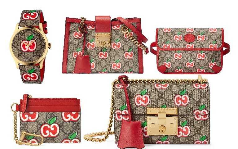 Gucci G-Timeless 蘋果印花錶/32,000元、Padlock  蘋果印花鍊帶肩背包/59,600元、雙G蘋果印花腰包/32,500元、 雙G蘋果印花拉鍊小包/10,000元、Padlock 蘋果印花鍊帶包/61,200元(圖/品牌提供)