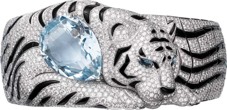 Cartier「頂級珠寶系列」老虎造型手環╱白K金,1顆梨形海水藍寶、欖尖形碧璽眼、縞瑪瑙,及圓形明亮式切割鑽石╱26,700,000元。(圖╱Cartier提供)