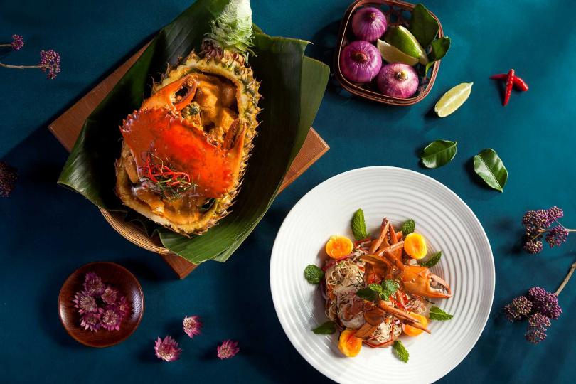 泰式餐廳「SUKHOTHAI」以涼拌、咖哩等手法呈現秋蟹美味。(圖/喜來登大飯店提供)