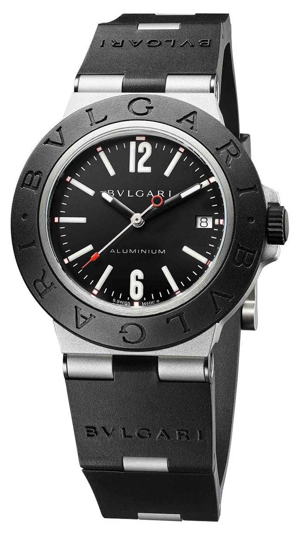 BVLGARI「ALUMINIUM」系列,自動上鏈鋁合金腕錶╱40mm,鋁合金錶殼,黑色錶盤,B130型自動上鏈機芯╱91,400元(圖╱BVLGARI提供)