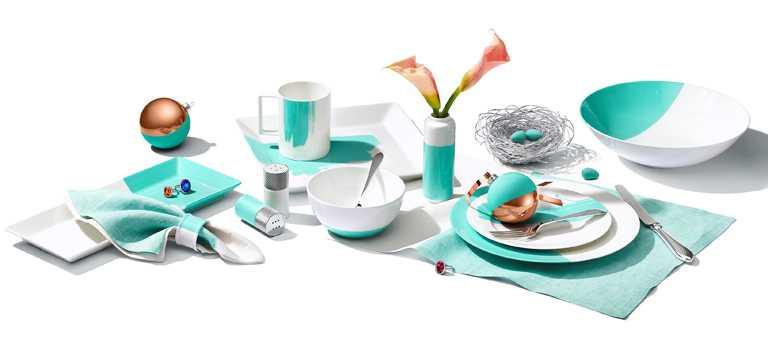 TIFFANY & CO.「筆刷與撞色設計餐具」╱價格店洽。(圖╱TIFFANY & CO.提供)