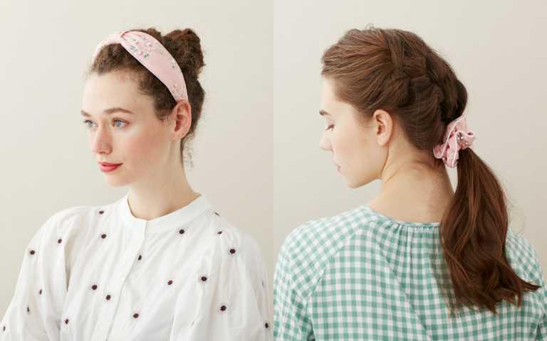 「珠蕊粉櫻」系列以粉色的施華洛世奇珍珠綴飾為花蕊的朵朵櫻花,增添了鮮活感後更顯出色細緻!有髮箍、荷葉髮束兩種款式。(圖/品牌提供)