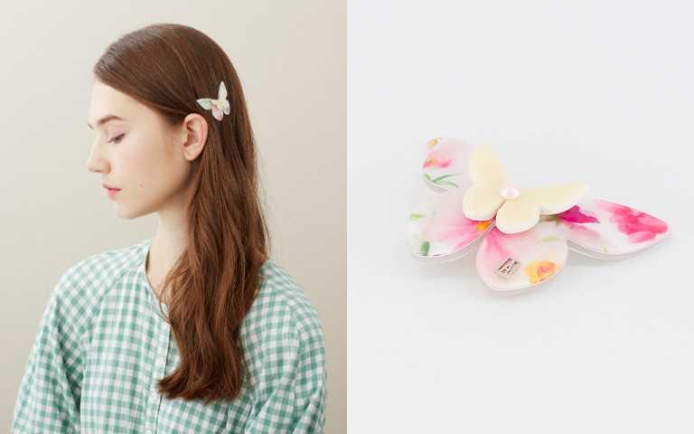「蝶中蝶」系列有髮箍、抓夾、仕女夾、豆扣夾四種款式。(圖/品牌提供)