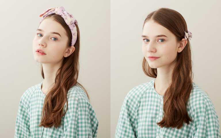 「水彩花影」系列採用全球最頂級的里昂絲綢,輕柔細緻的真絲材質,尤其適合炎炎夏日配戴。有髮箍、荷葉髮束、豆扣夾三種款式。(圖/品牌提供)