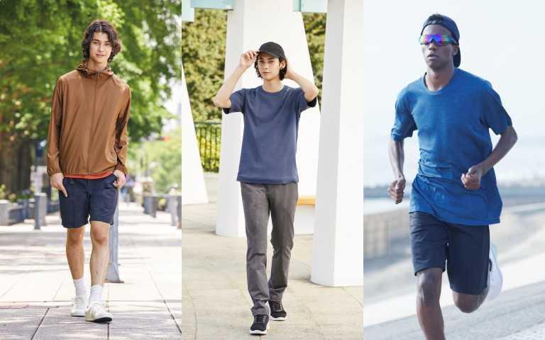 UNIQLO可攜式抗UV連帽外套(3D剪裁)(期間限定 8/6-8/12) 790元;DRY-EX圓領T恤(短袖)(仿棉質)(期間限定 8/6-8/12)/390元;DRY-EX短褲/590元。(圖/品牌提供)