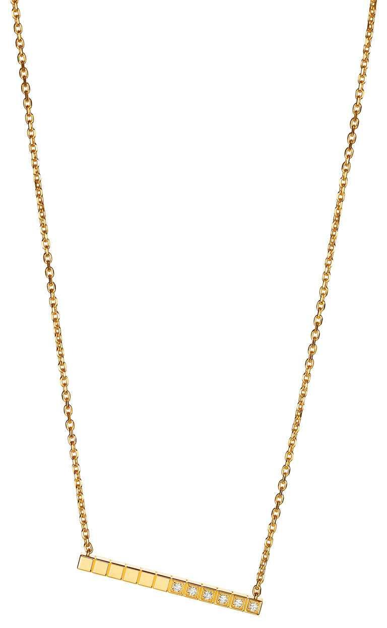 Chopard「Ice Cube Pure」系列,採用「公平採礦」認證18K黃金項鍊,鑲鑽款╱80,000元。(圖╱Chopard提供)