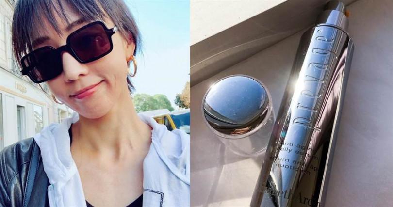 """被稱為""""小橘燈精華""""的伊麗莎白雅頓艾地苯橙燦精華是張鈞甯大推熬夜時的必備神器,難怪這趟巴黎時裝周行程馬不停蹄,但她的每張照片還是美到冒泡!(圖/翻攝張鈞甯粉絲團、IG)"""