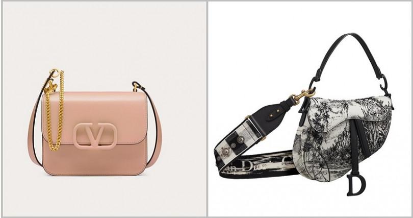 Valentino Garavani VSLING奶茶色亮澤小牛皮肩背包/ 76,000元、Dior Saddle黑白食人花法式印花串珠刺繡小牛皮馬鞍包/180,000元。(圖/品牌提供)
