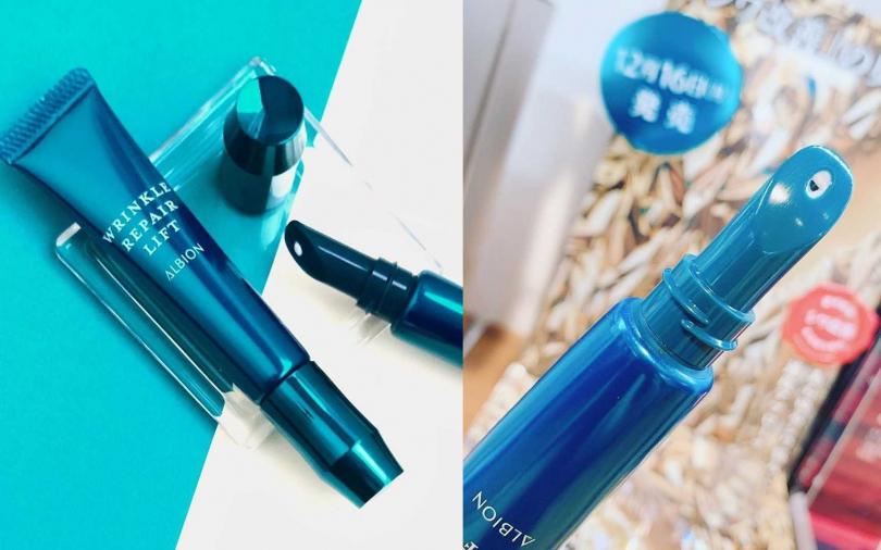 ALBION緊緻抗皺紋路擦擦筆 15g/2,650元  有了這個瓶口,不用沾手,直接對準紋路拉提就可以。(圖/IG@albion_jp、IG@kosyuya)