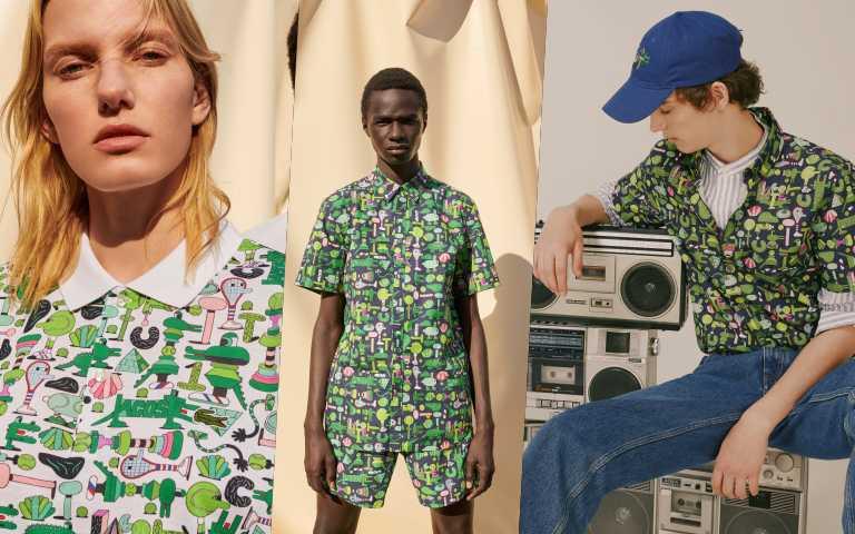 密密麻麻的鱷魚與網球配飾,讓服裝變得俏皮可愛。「LACOSTE X CROCOSERIES 藝術家聯名系列」與藝術家Jeremyville聯手打造。(圖/品牌提供)