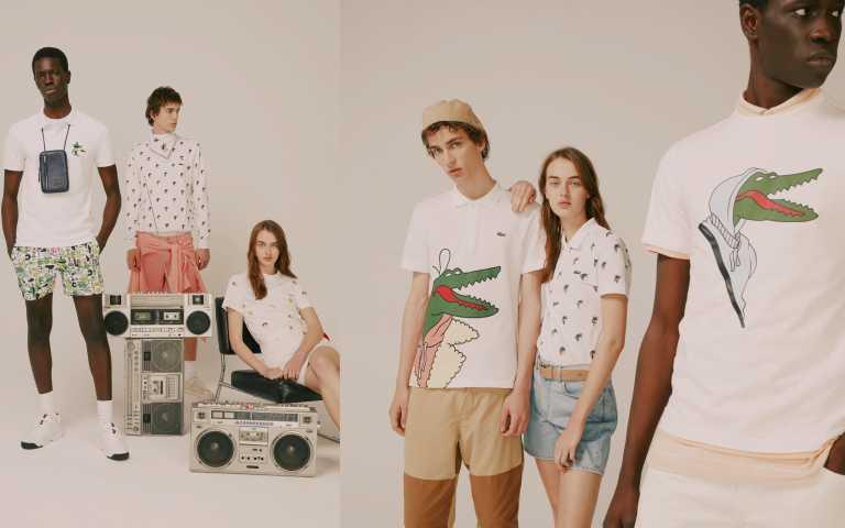 令人喜愛的「LACOSTE X CROCOSERIES 藝術家聯名系列」包括經典的 POLO 衫、T 恤、帽 T、大學 T、以及棒球帽、手錶、包袋、鞋履、鑰匙圈等,成衣到配飾一應具全。(圖/品牌提供)