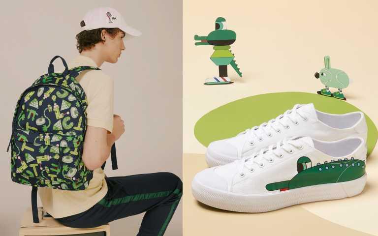 「LACOSTE X CROCOSERIES 藝術家聯名系列」與藝術家Jeremyville聯手打造包括包款和鞋款都超可愛。(圖/品牌提供)