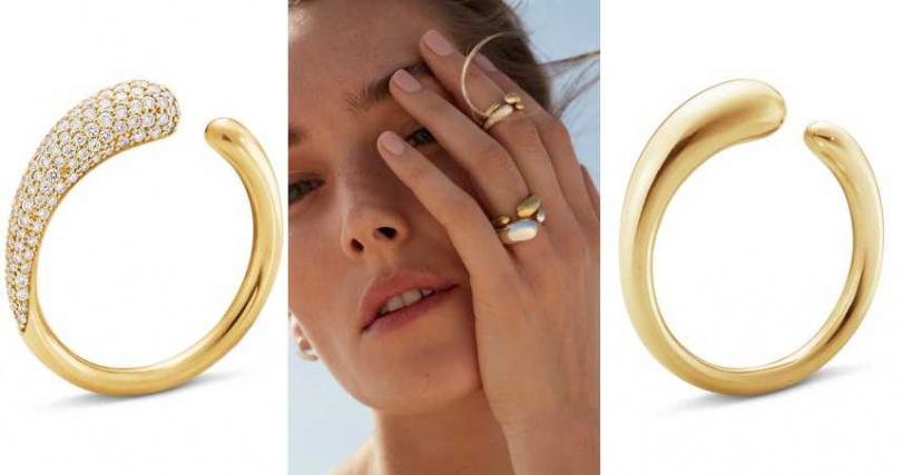 (左)GEORG JENSENMERCY 系列 18K金鋪鑽戒指 (鑽石淨重 0.53 克拉)/91,000元;(右)GEORG JENSENGEORG JENSEN_MERCY 18K金戒指(小)39,000元。(圖/品牌提供)