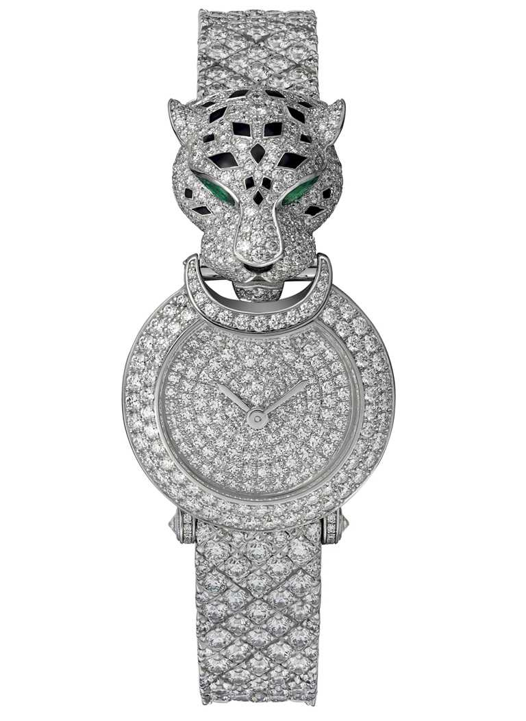CARTIER「La Panthère系列」美洲豹全鋪鑲鑽腕錶,鍍銠白K金錶殼,錶徑23.6mm,鑽石820顆╱價格店洽。(圖╱CARTIER提供)