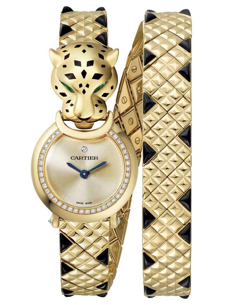 CARTIER「La Panthère系列」美洲豹雙鍊尖晶石腕錶,黃K金錶殼,錶徑23.6mm,鑽石40顆╱價格店洽。(圖╱CARTIER提供)