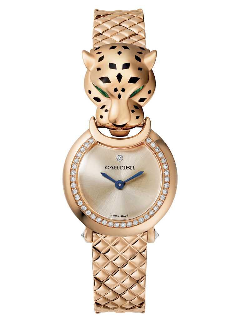 CARTIER「La Panthère系列」美洲豹玫瑰金腕錶,18K玫瑰錶殼,錶徑23.6mm,鑽石40顆╱價格店洽。(圖╱CARTIER提供)