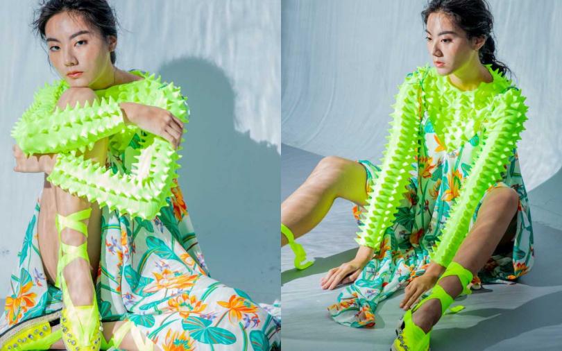 LOEWE 3D立體針織上衣/25,000元、印花絲質細肩帶洋裝/37,000元、鑽飾螢光黃涼鞋/23,000元(圖/莊立人攝)