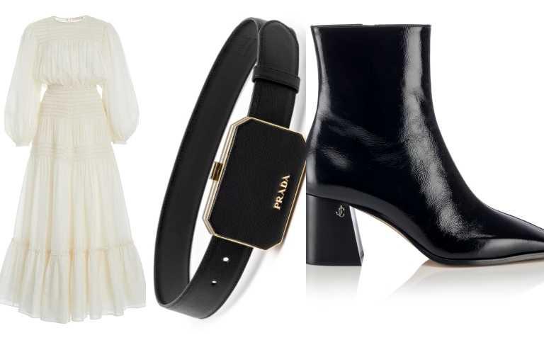 Tory Burch象牙白連身長裙/38,900元;PRADA Saffiano 黑色多功能皮帶/37,000元;JIMMY CHOO BRYELLE 65 NAPLACK黑色高跟靴/價格未定(圖/品牌提供)