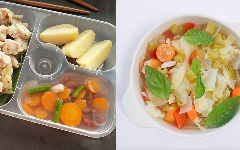 太餓的時候可以喝「巫婆湯」,高麗菜、蘿蔔、芹菜煮成的無調味蔬菜湯。(圖/moingaymotbua IG,icelroomskitchen IG)