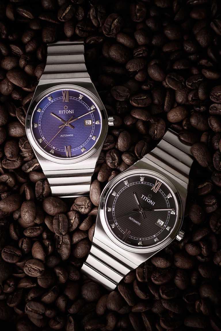 TITONI「Impetus動力」系列腕錶,海軍藍、晶炭灰面盤,40mm,316L不鏽鋼錶殼,ETA 2892-A2型自動上鏈機芯╱41,500元。(圖╱TITONI提供)