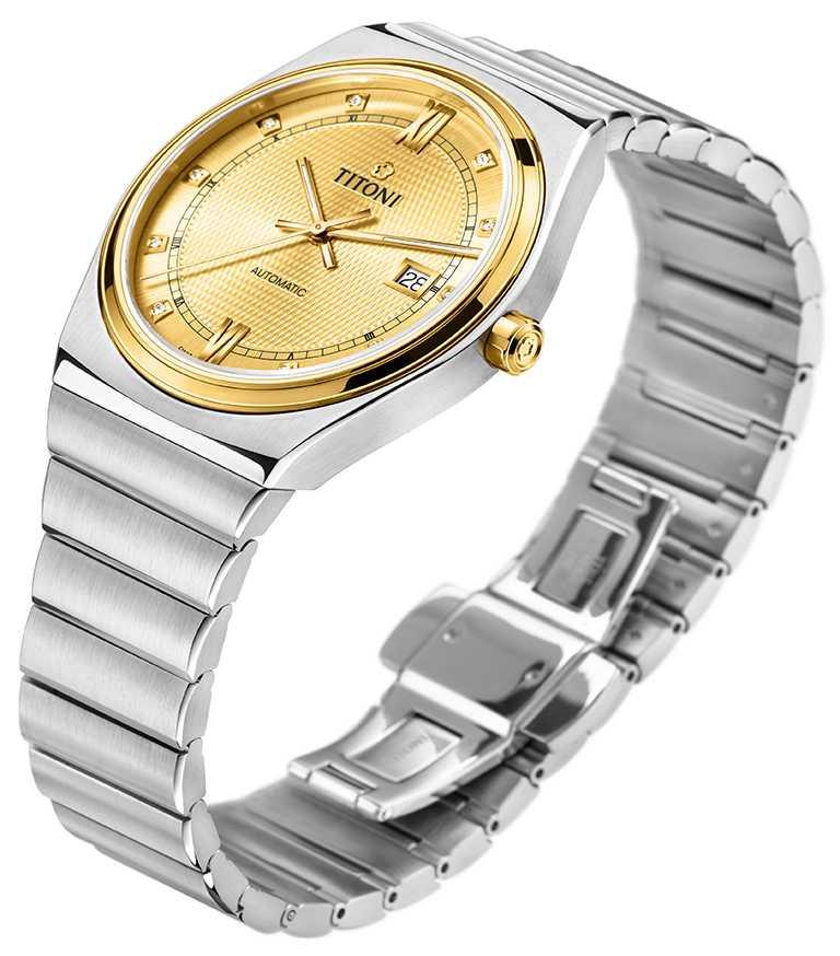 TITONI「Impetus動力」系列腕錶,烈日黃面盤,40mm,316L不鏽鋼、PVD塗層雙色半金錶殼,ETA 2892-A2型自動上鏈機芯╱44,900元。(圖╱TITONI提供)