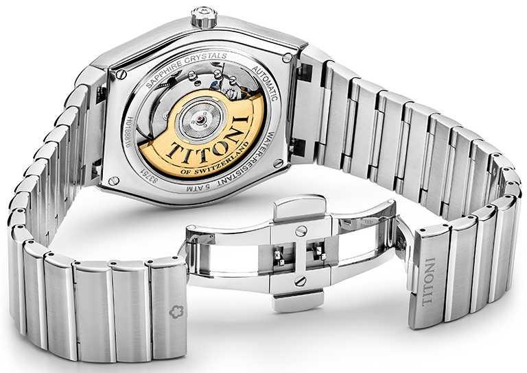 流線型316L不鏽鋼一片式錶帶,經拋光與磨光雙重處理,備有蝴蝶式按壓雙向摺疊釦;搭載ETA 2892-A2型自動上鏈機芯,動力儲存最高可達44小時。(圖╱TITONI提供)