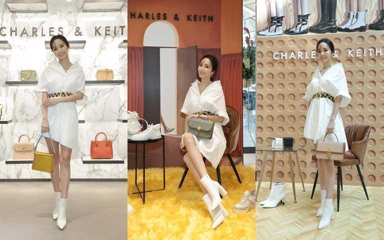 侯佩岑以純白時尚搭配秋季新款包展現率性魅力。(圖/CHARLES & KEITH)