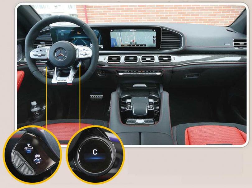 雙12.3吋的整合儀表板,搭配AMG平底方向盤相當合拍,在方向盤的8點鐘及5點鐘位置,還有相當便捷的按鍵。(圖/趙世勳攝)