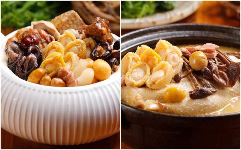 響味鮑魚佛跳牆(左)、金撈茶樹菇老鴨煲。(圖/芭達桑原住民主題餐廳提供)