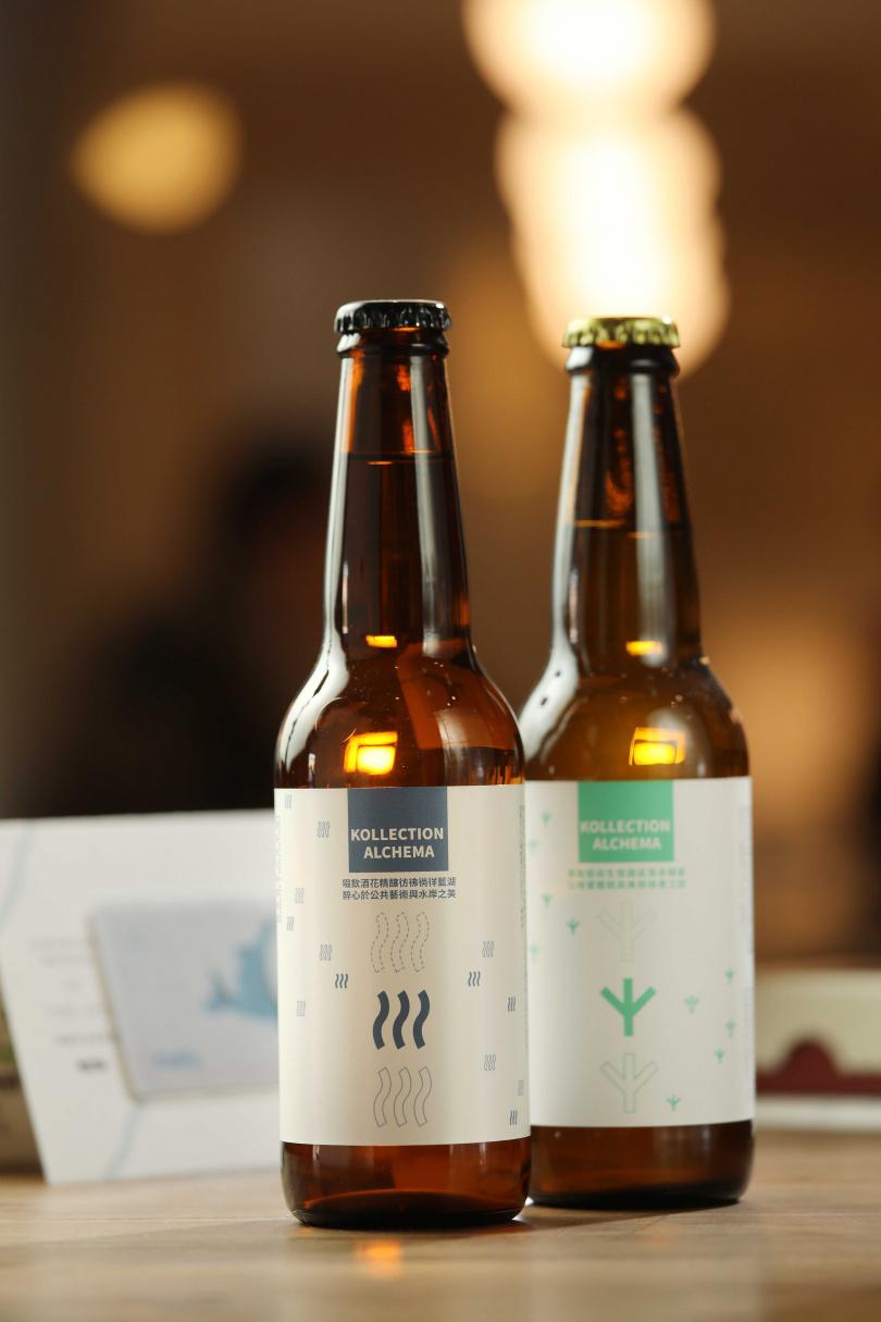 「藍湖酒花精釀啤酒」(左)與「草本綠地康普茶酵素飲」。(各145元,圖/于魯光攝)