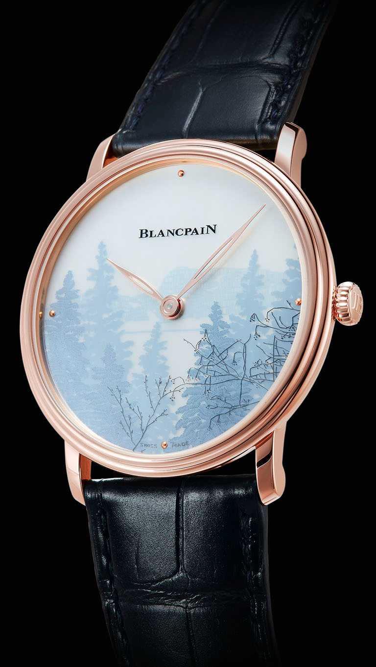 BLANCPAIN「Métiers d'Art大藝術家」系列,珍珠母貝剪影浮雕腕錶,「Le Brassus沿途風光」面盤,40mm,18K紅金錶殼,11A4B型手動上鏈機芯╱2,727,000元。(圖╱BLANCPAIN提供)