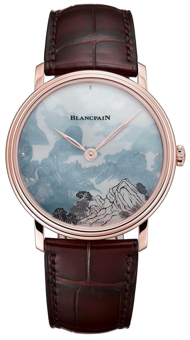BLANCPAIN「Métiers d'Art大藝術家」系列,珍珠母貝剪影浮雕腕錶,「廣西桂林山景」面盤,40mm,18K紅金錶殼,11A4B型手動上鏈機芯╱2,727,000元。(圖╱BLANCPAIN提供)