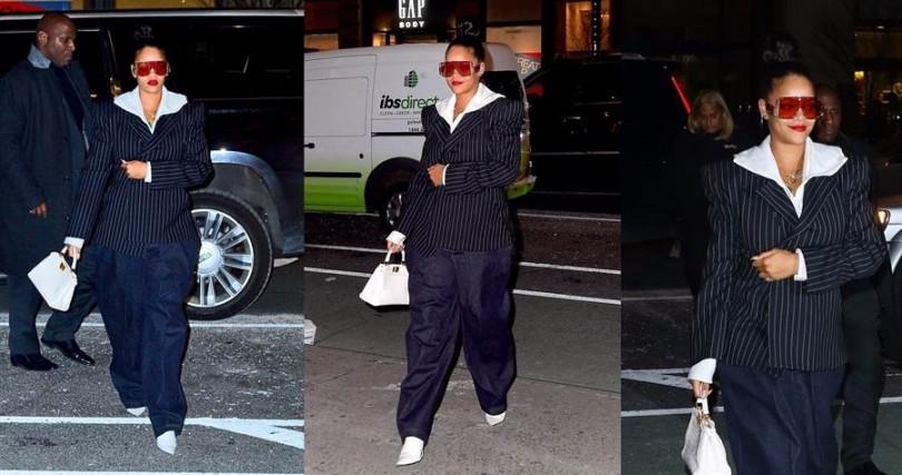 不只是包包,其實蕾哈娜也聰明的以尖頭鞋取代休閒鞋來扭轉街頭風。(圖/翻攝網路)