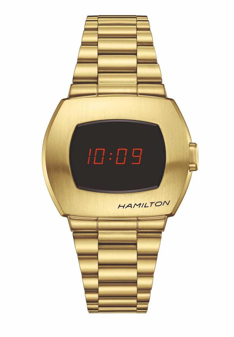 HAMILTON「PSR」腕錶,黃金PVD塗層精鋼款,限量1,970只╱32,400元。(圖╱HAMILTON提供)