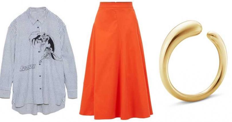 左起: LilyBrown x DC BATMAN聯名系列條紋襯衫/4,280元;BOSS Women 鮮橘色斜紋混棉A字長裙/9,900元; GEORG JENSEN MERCY 18K金戒指 (小)/39,000元(圖/品牌提供)