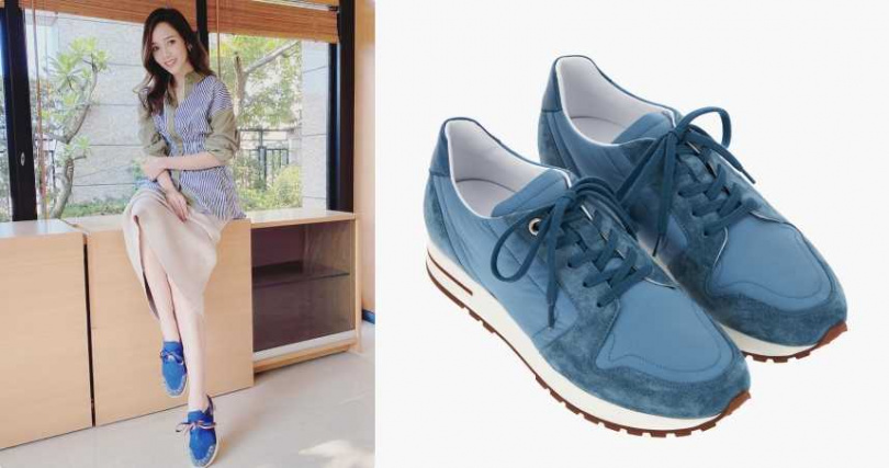 Loro Piana女士My Wind水藍色休閒鞋/30,200元(圖/翻攝自侯佩岑IG、品牌提供)